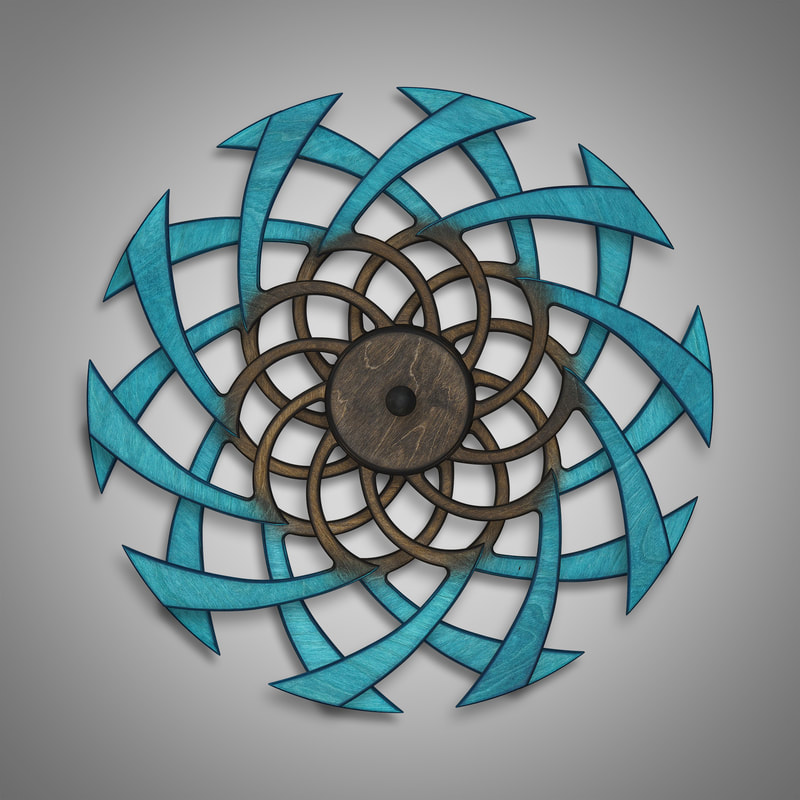 Kinetic Sculpture Flow Outer Turquoise by Ryan Kvande