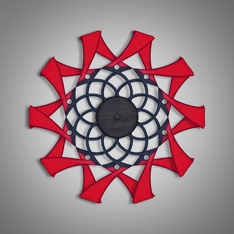 Kinetic Sculpture Flux Outer Red by Ryan Kvande