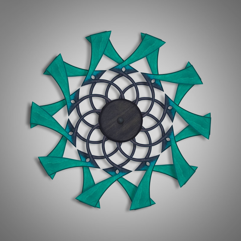 Kinetic Sculpture Flux Outer Turquoise by Ryan Kvande