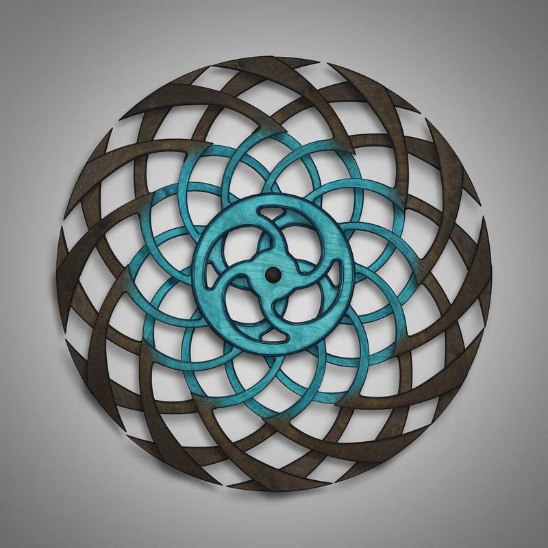 Kinetic Sculpture Ripple Inner Turquoise by Ryan Kvande