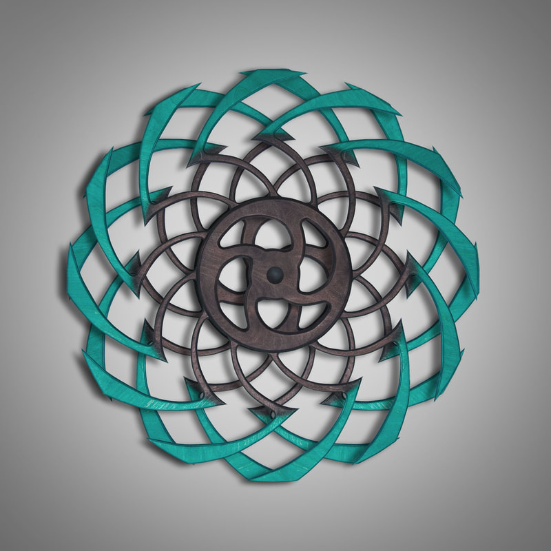 Kinetic Sculpture Ripple Outer Turquoise by Ryan Kvande