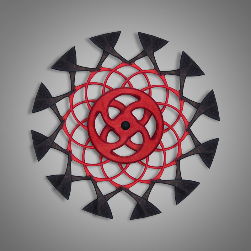 Kinetic Sculpture Tranquil Inner Red by Ryan Kvande